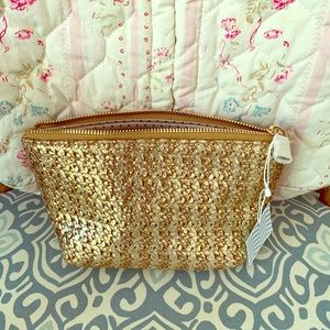 Gold-dipped, straw clutch, cosmetic bag